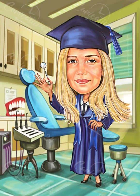 Карикатура за дипломиране на зъболекар