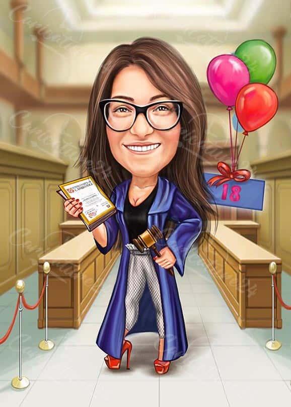 Карикатура за дипломиране на жена адвокат