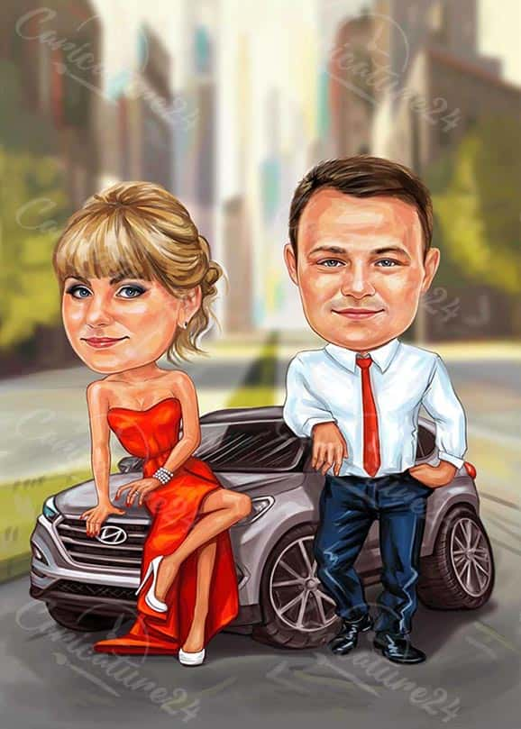 Карикатура за двама с кола