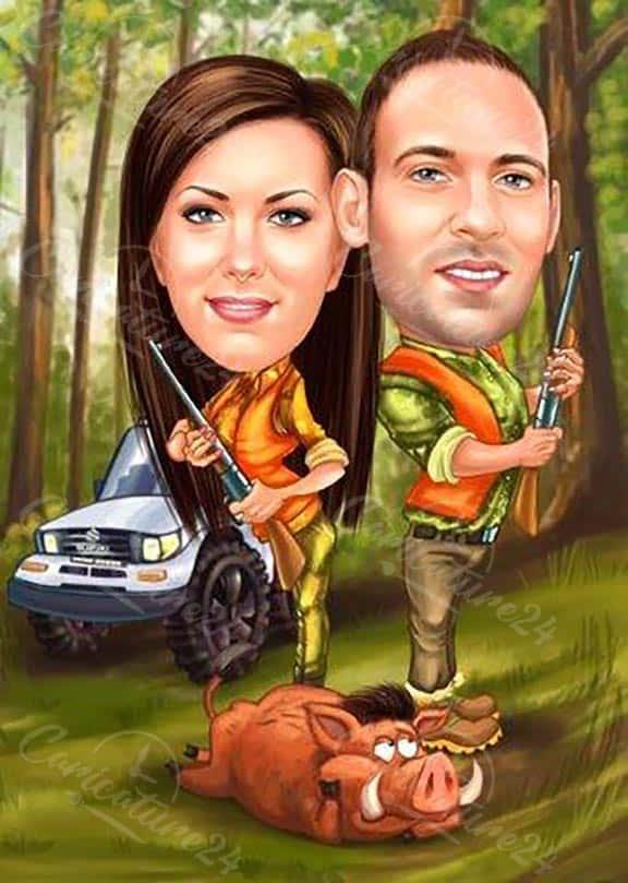 Карикатура за двойка ловджии