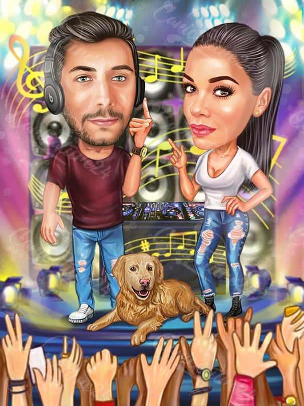 Карикатура за двойка музиканти