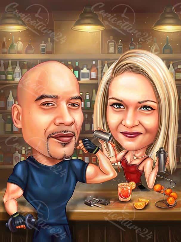 Карикатура за двойка на бара