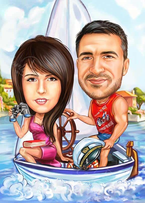 Карикатура за двойка на кораб