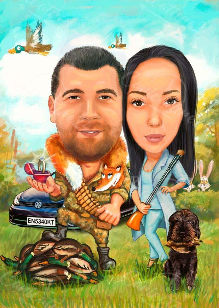 Карикатура за двойка на лов с пушка
