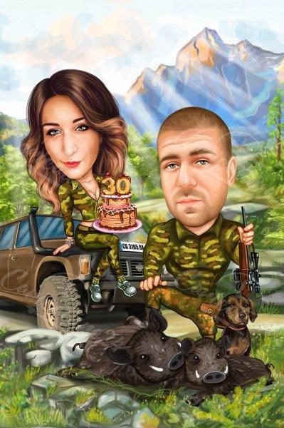 Карикатура за двойка на лов с торта
