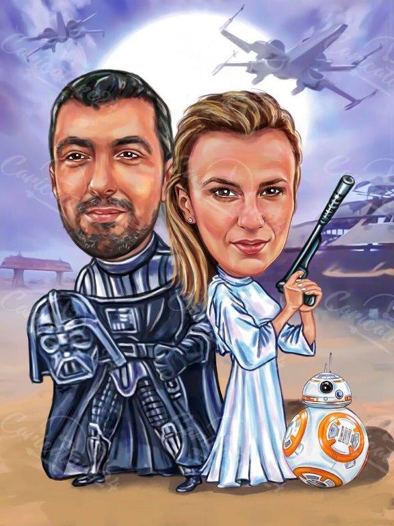 Карикатура за двойка от междузвездни войни