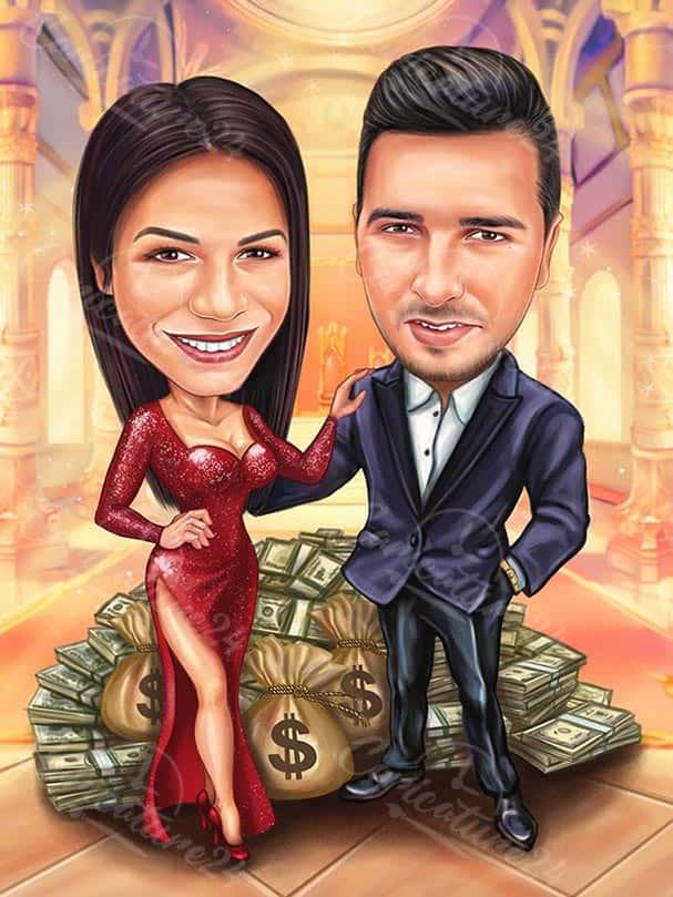 Карикатура за двойка с богатство