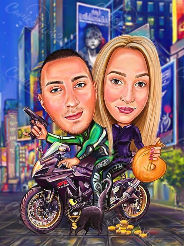 Карикатура за двойка с мотор и злато
