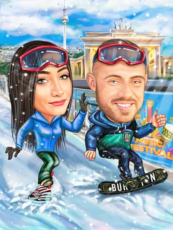 Карикатура за двойка сноубордисти
