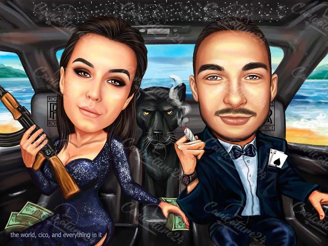 Карикатура за двойка в кола с пума
