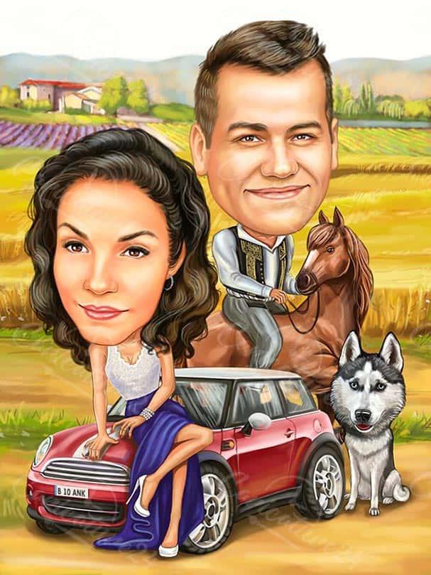 Карикатура за фермери с кон и куче