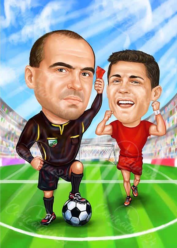 Карикатура за футболист и съдия