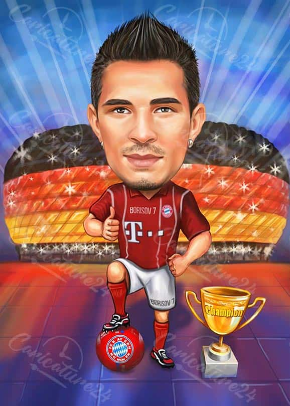 Карикатура за футболист на стадион в Германия