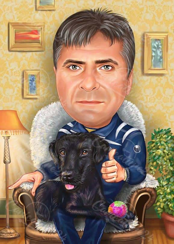 Карикатура за генерал с куче
