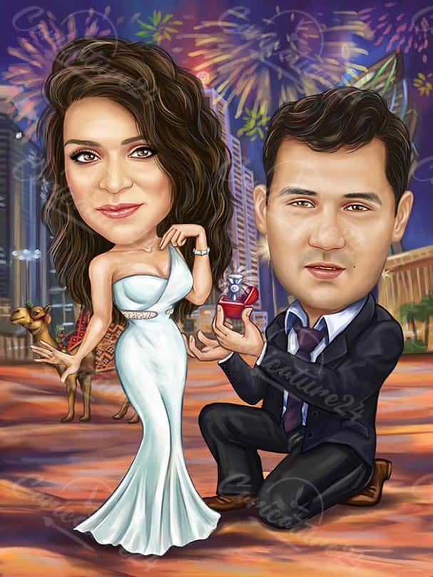 Карикатура за годеж с фойерверки