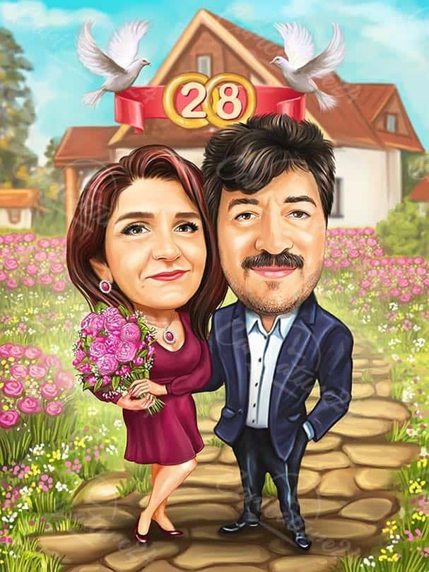 Карикатура за годишнина заедно