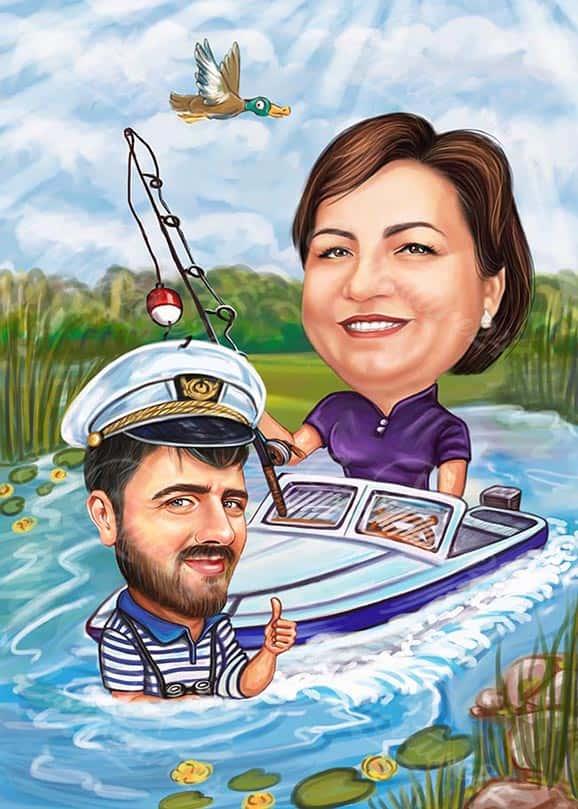 Карикатура за капитан с жена