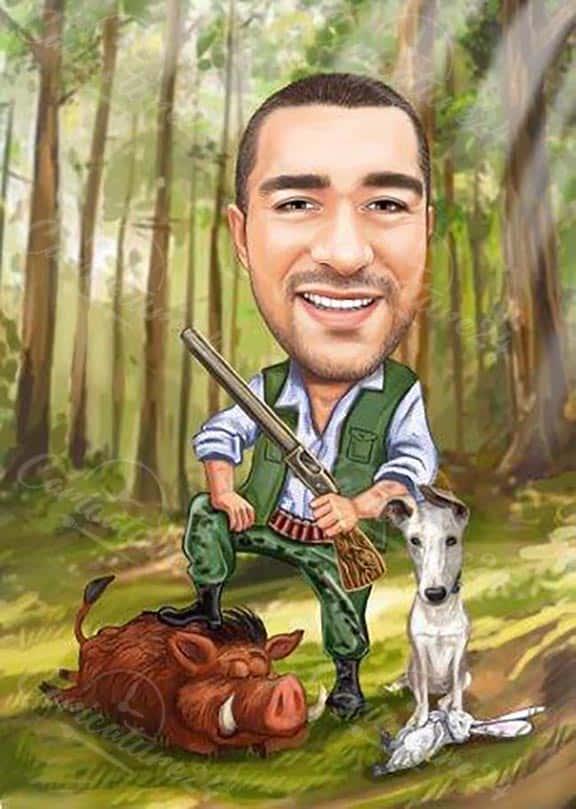 Карикатура за ловец с куче