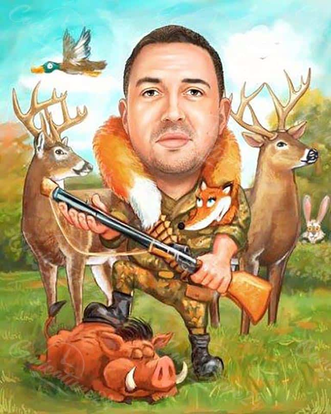 Карикатура за ловец с оръжие