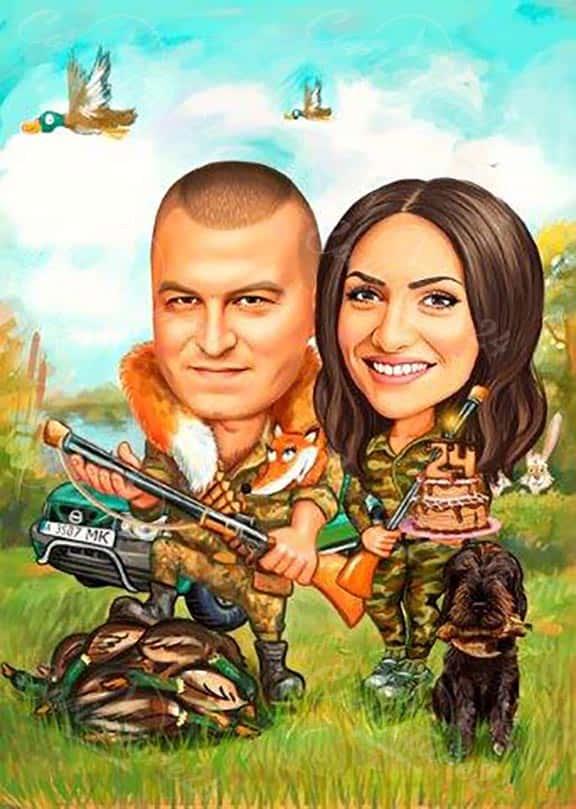 Карикатура за ловец с торта
