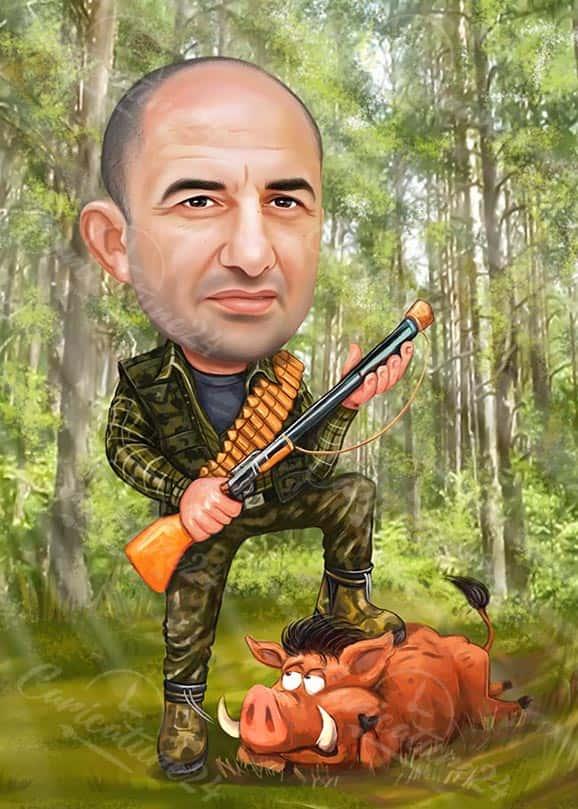 Карикатура за ловец в гората