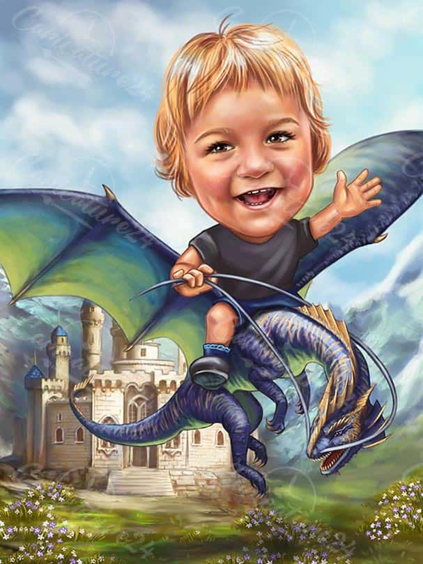Карикатура за момче с дракон