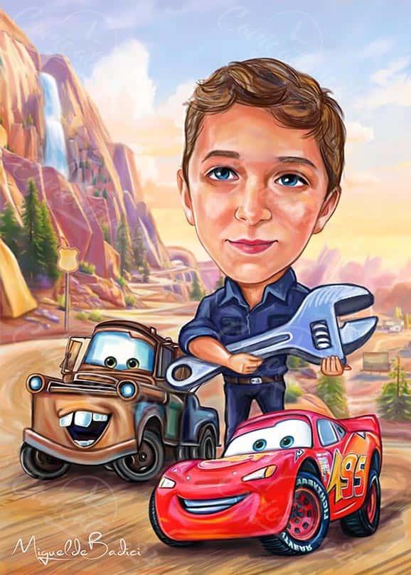 Карикатура за момче с кола