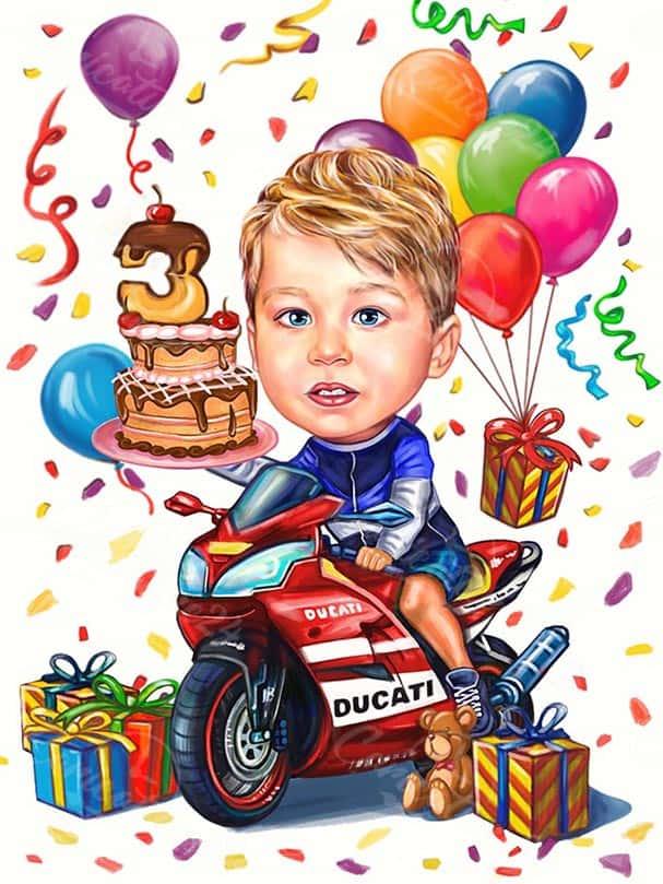 Карикатура за момче с мотор