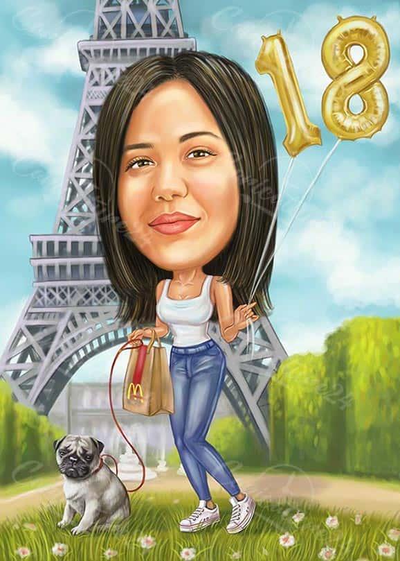 Карикатура за момиче на 18 години