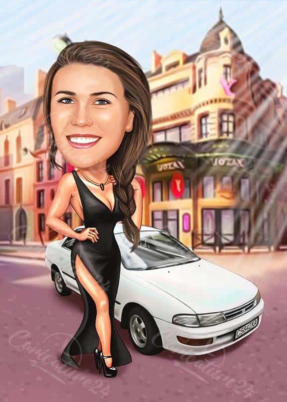 Карикатура за момиче с рокля