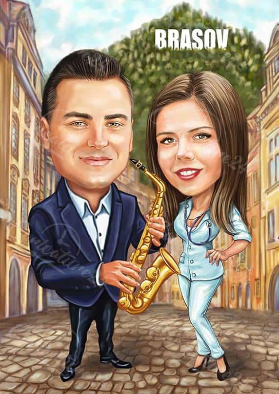 Карикатура за музикант и лекарка