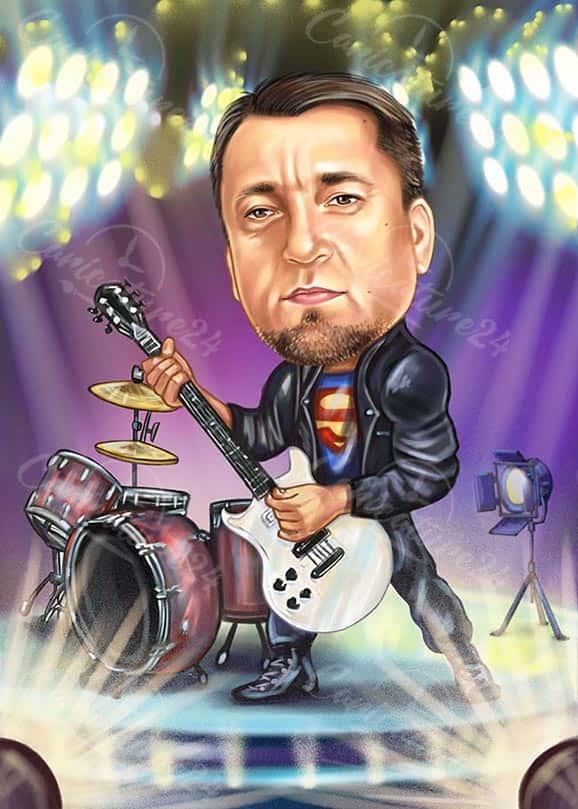 Карикатура за музикант на сцена