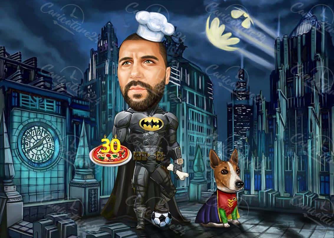 Карикатура за мъж Батман с куче