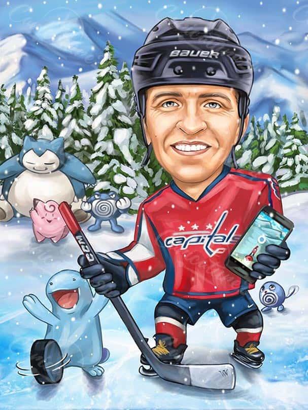 Карикатура за мъж хокеист с телефон