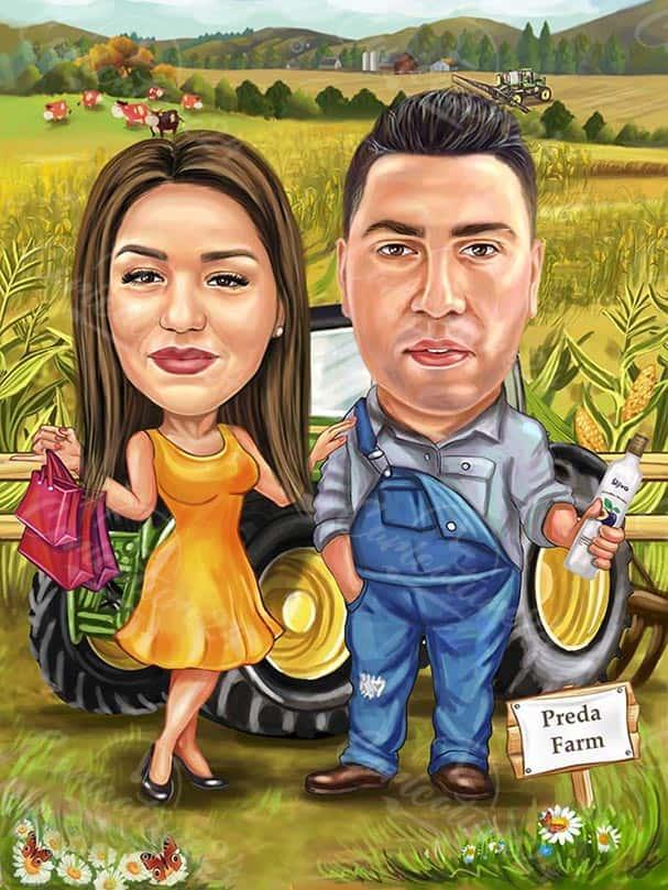 Карикатура за мъж и жена фермери