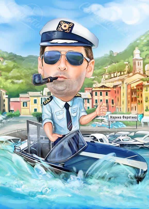 Карикатура за мъж капитан с лула