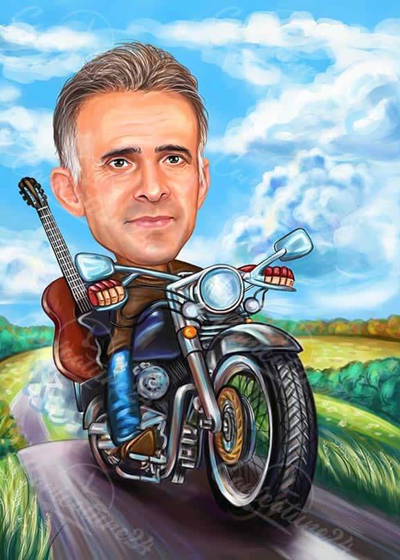 Карикатура за мъж китарист с мотор