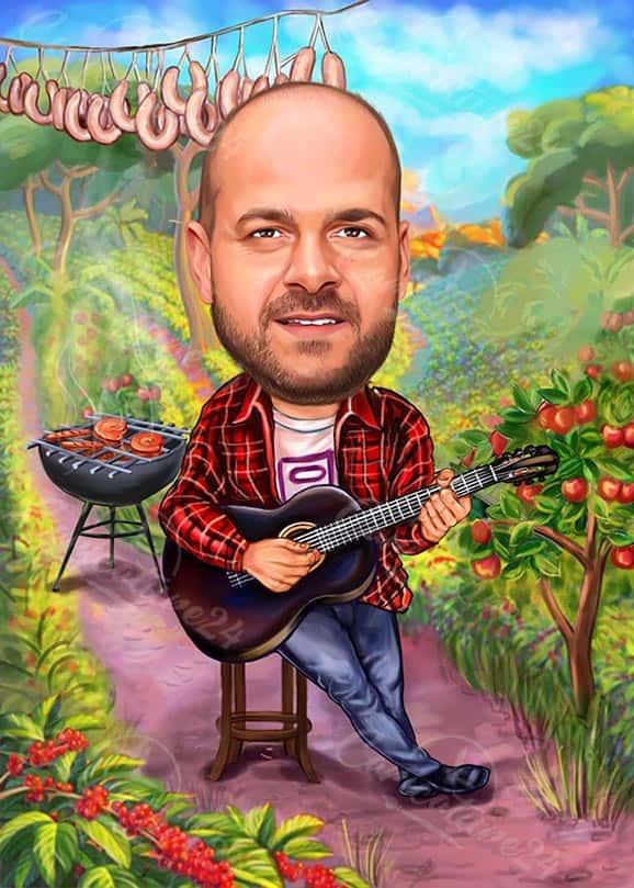 Карикатура за мъж китарист
