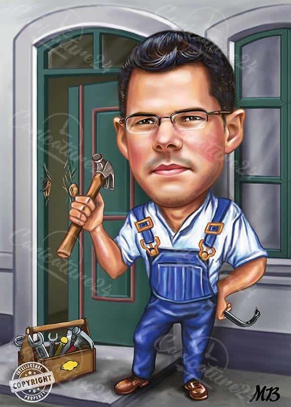 Карикатура за мъж майстор