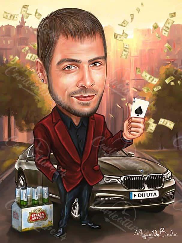 Карикатура за мъж с БМВ