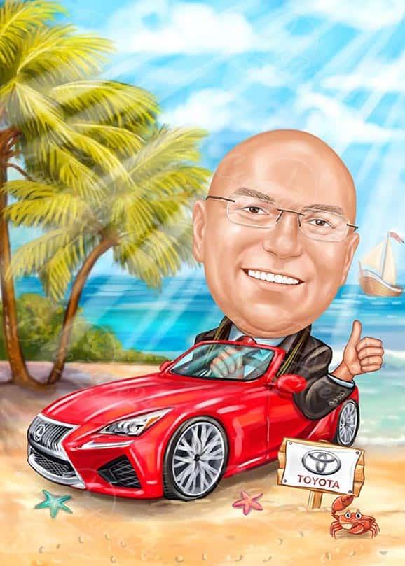 Карикатура за мъж с червена кола