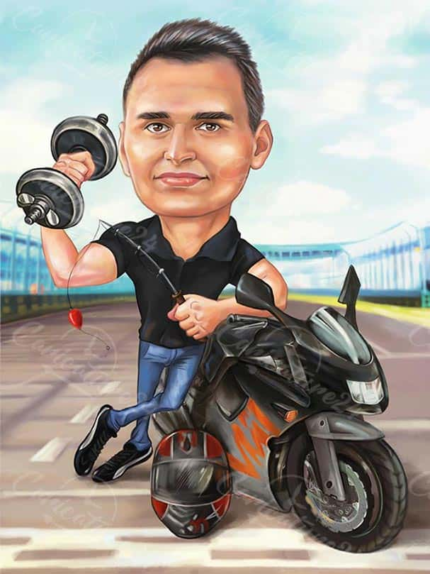 Карикатура за мъж с мотор