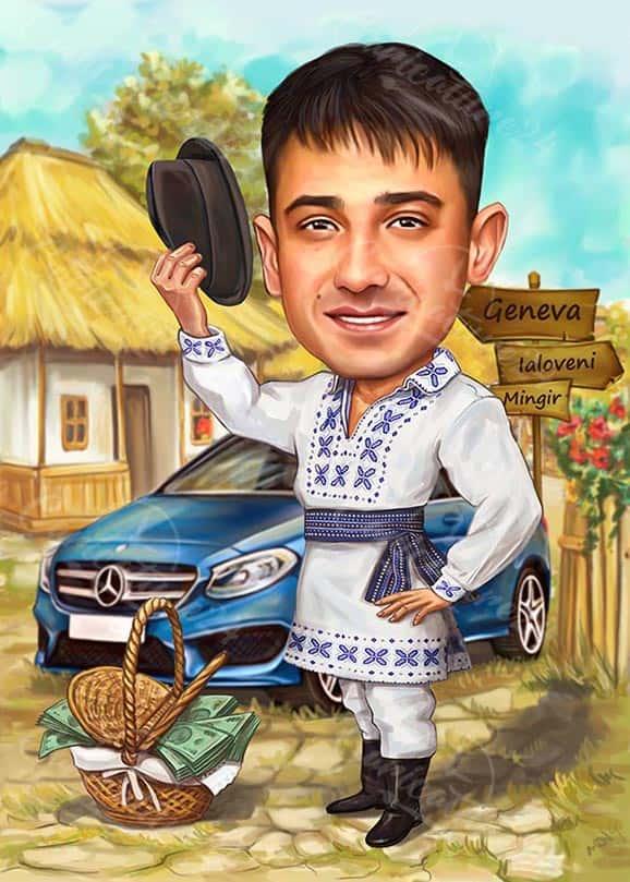 Карикатура за мъж с народни мотиви