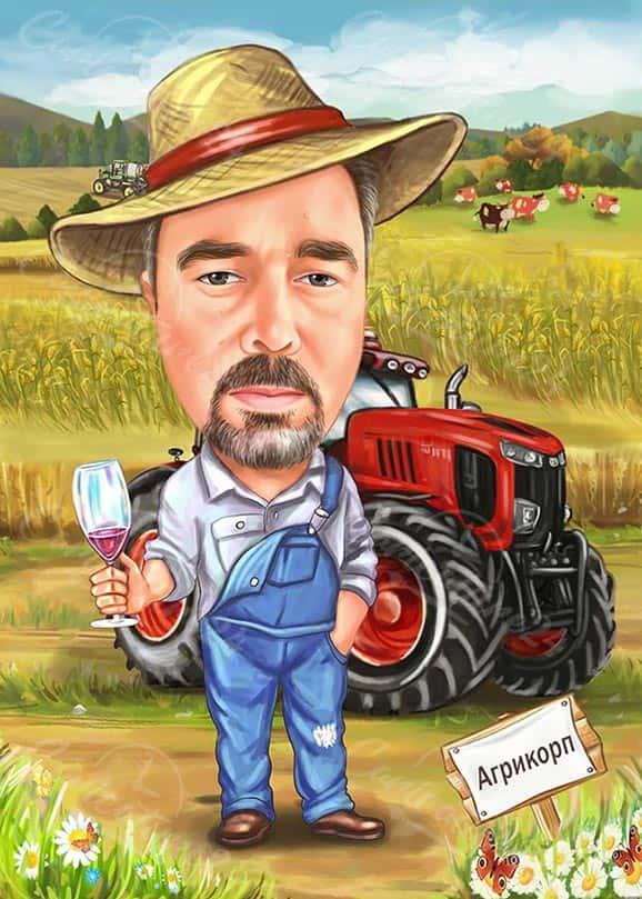 Карикатура за мъж с трактор