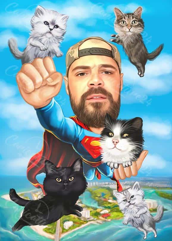 Карикатура за мъж супермен с котки