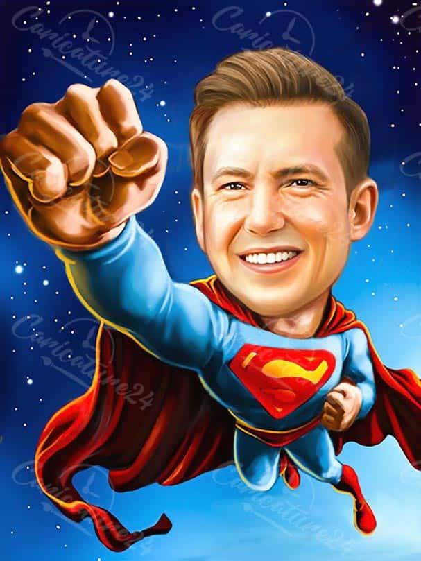 Карикатура за мъж супермен