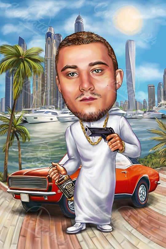 Карикатура за мъж в Дубай