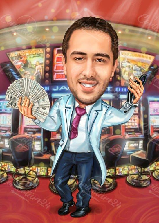 Карикатура за мъж в казино
