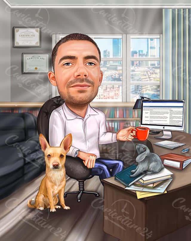 Карикатура за мъж в офис с куче