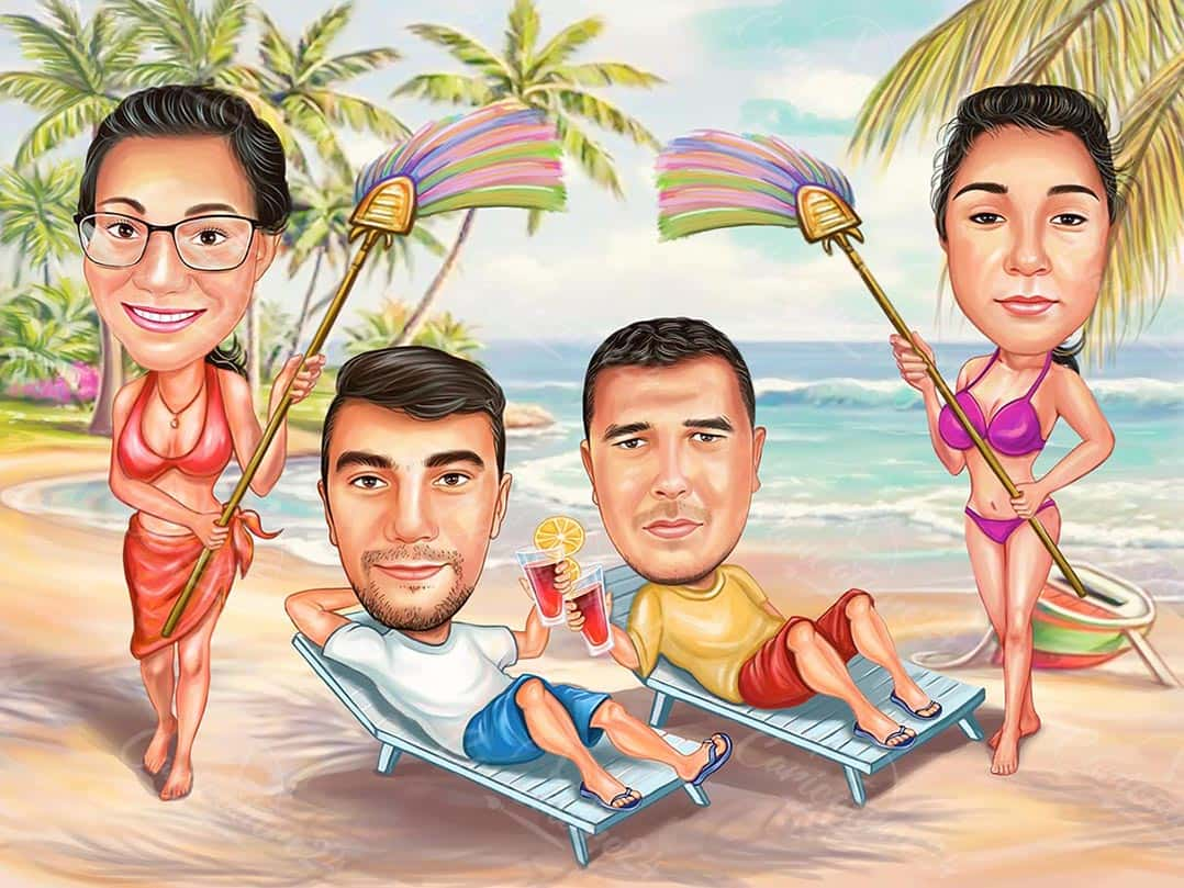 Карикатура за мъже на плажа